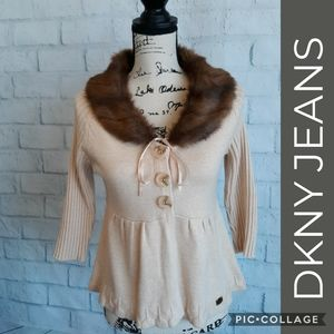 NWOT DKNY cotton + faux fur lovely